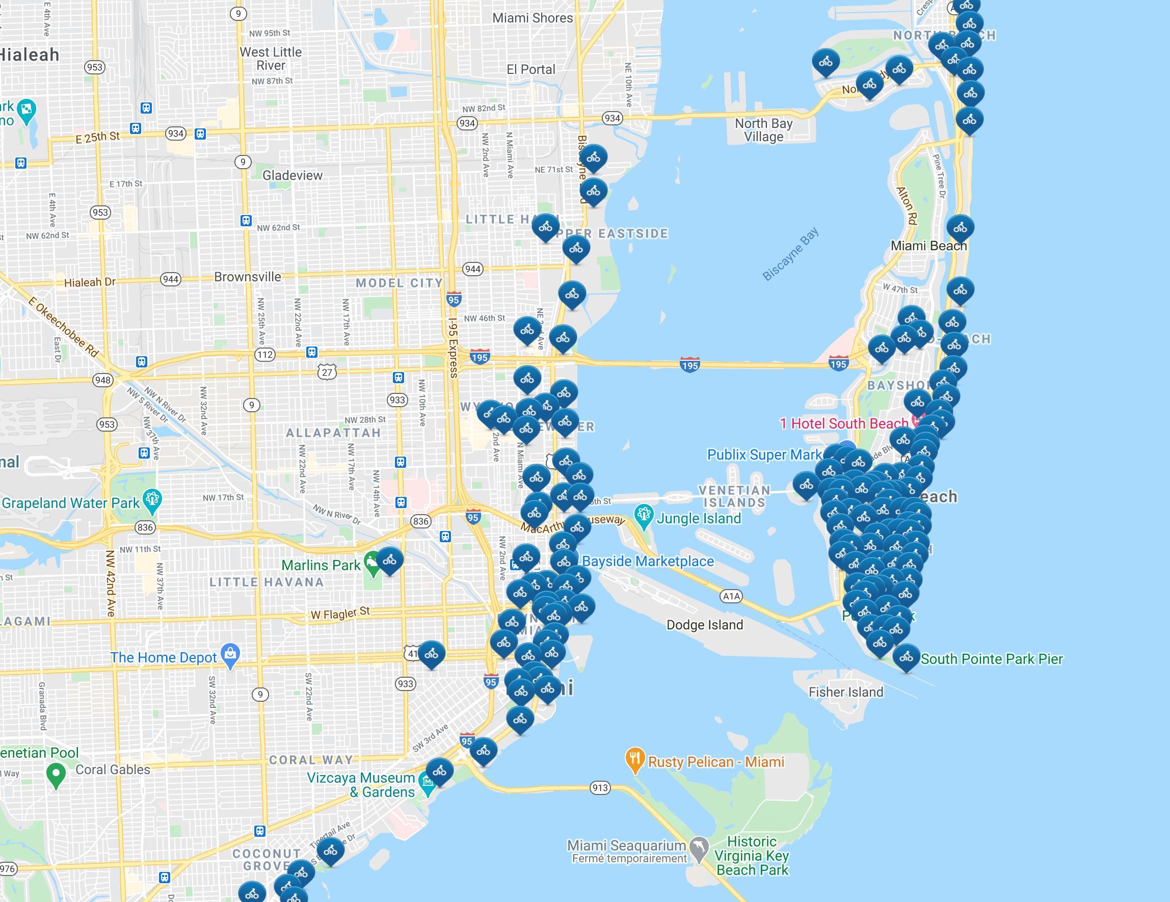 Citi Bike Miami Kartta Miami Citi Bike Kartta Florida Usa
