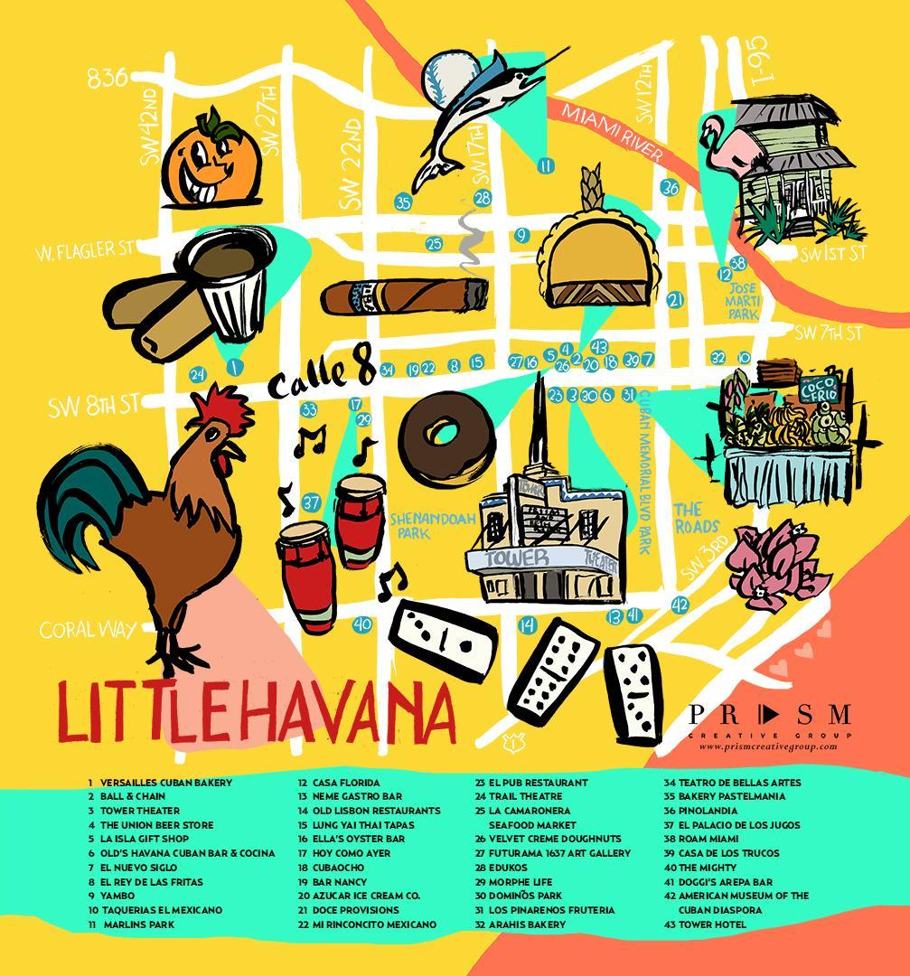 Little Havana Miami Kartta Miamin Pikku Havannan Kartta Florida