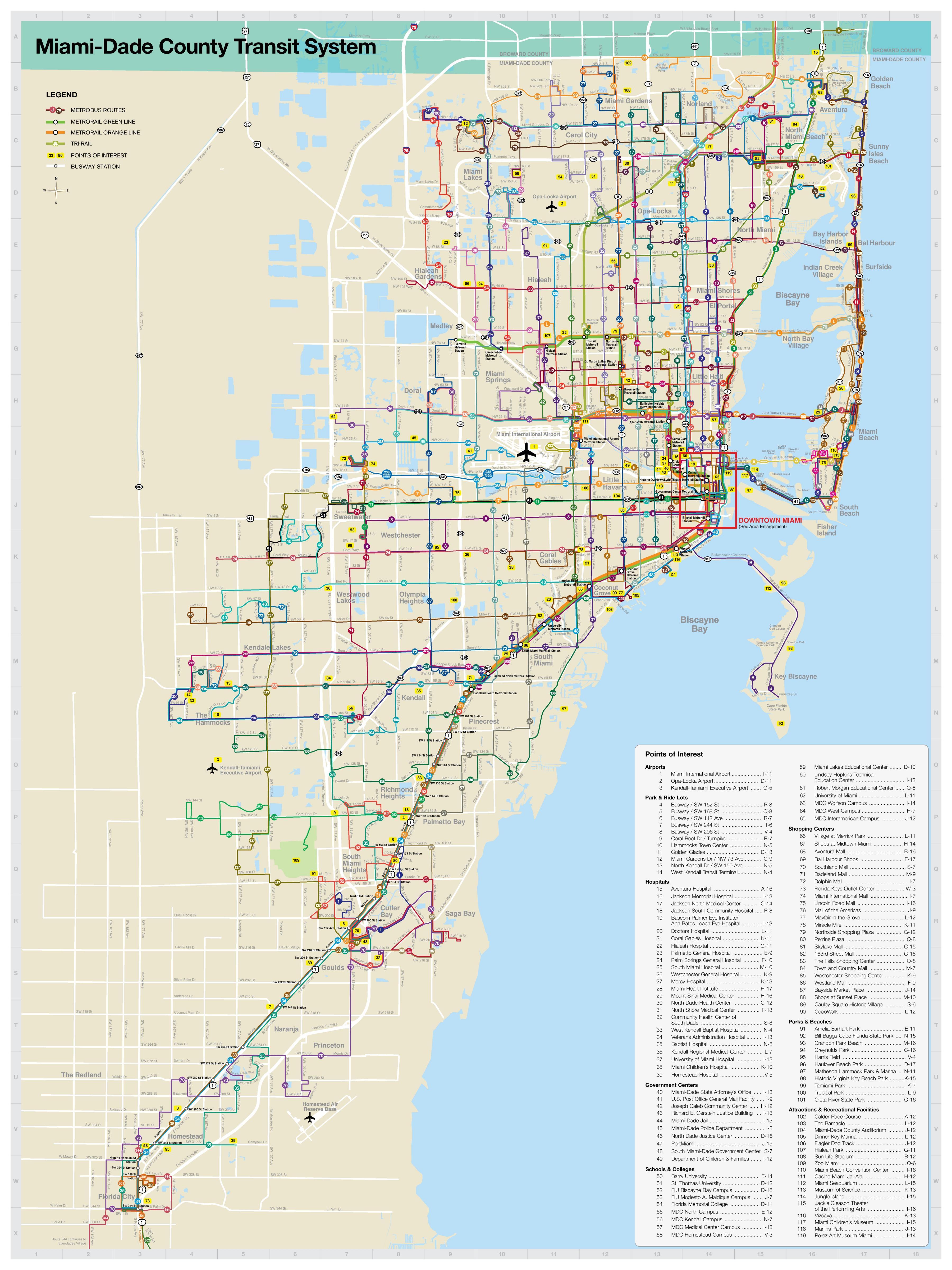 Miami Transit Kartta Miami Julkisen Liikenteen Kartta Florida